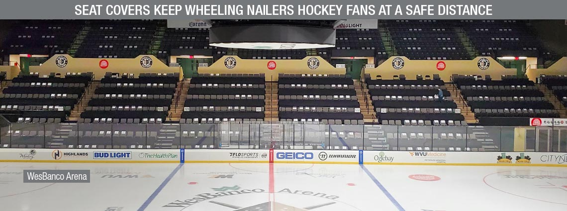 Seat Covers keep Wheeling Nailers Hockey Fans at a Safe Distance