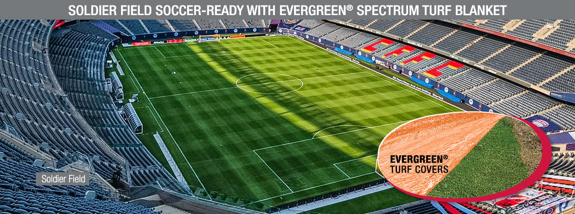 Soldier Field Soccer-Ready with Evergreen® Spectrum Turf Blanket