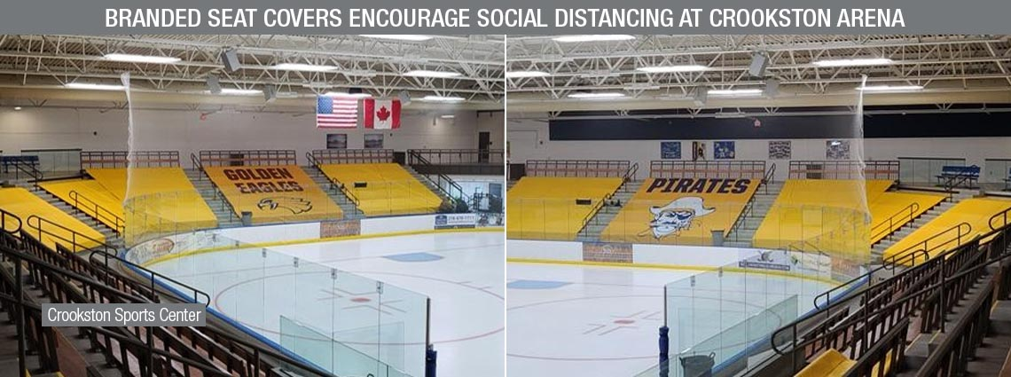Branded Seat Covers Encourage Social Distancing at Crookston Arena