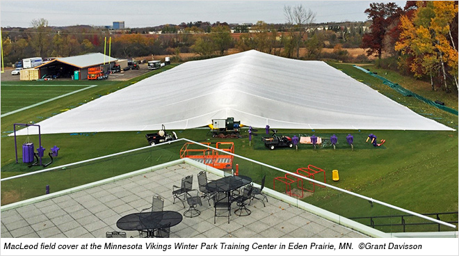 macleod inflatable field cover storms into two tough nfl climates