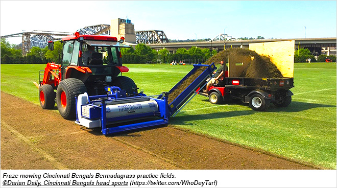 Fraze mowing Cincinnati Bengals Bermudagrass practice fields