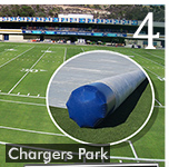 Chargers Using INFLATABLE Tarp Rollers for Daily Turf Management
