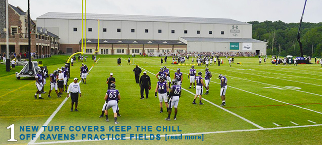 New Turf Covers Keep the Chill off Ravens Practice Fields