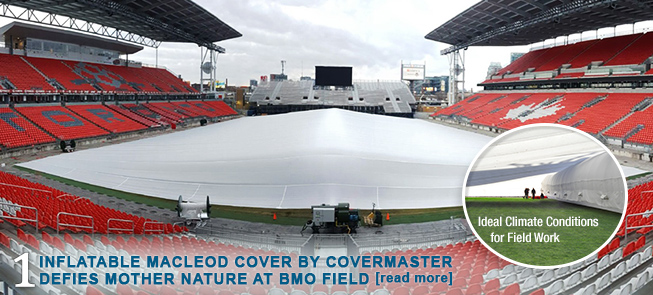 Inflatable MacLeod Cover by Covermaster Defies Mother Nature at BMO Field