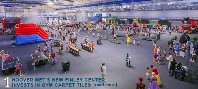 Hoover Mets New Finley Center Invests in Gym Carpet Tiles